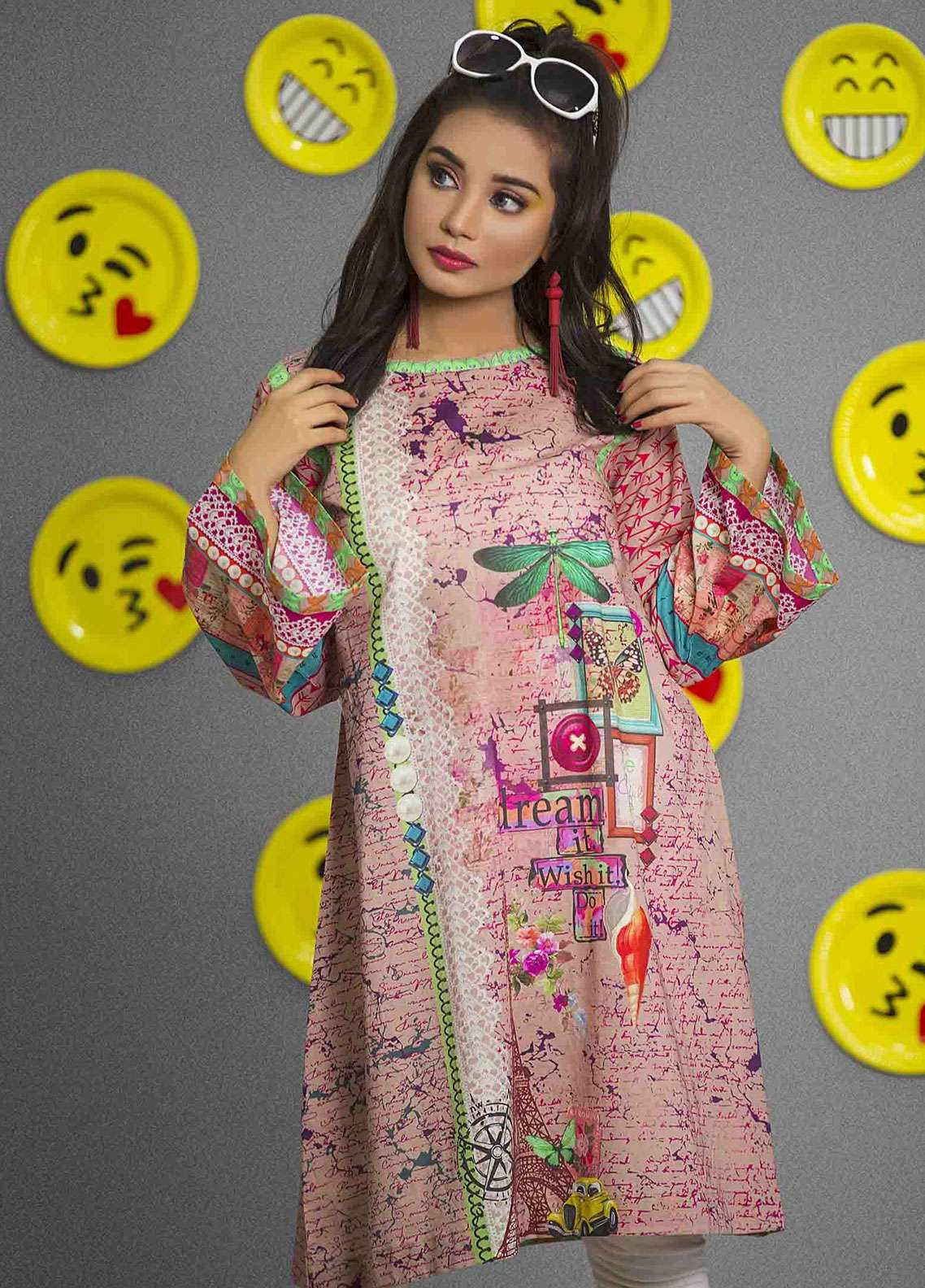 Fateh Printed Cambric Unstitched Kurties FS-0090 - Spunk Collection