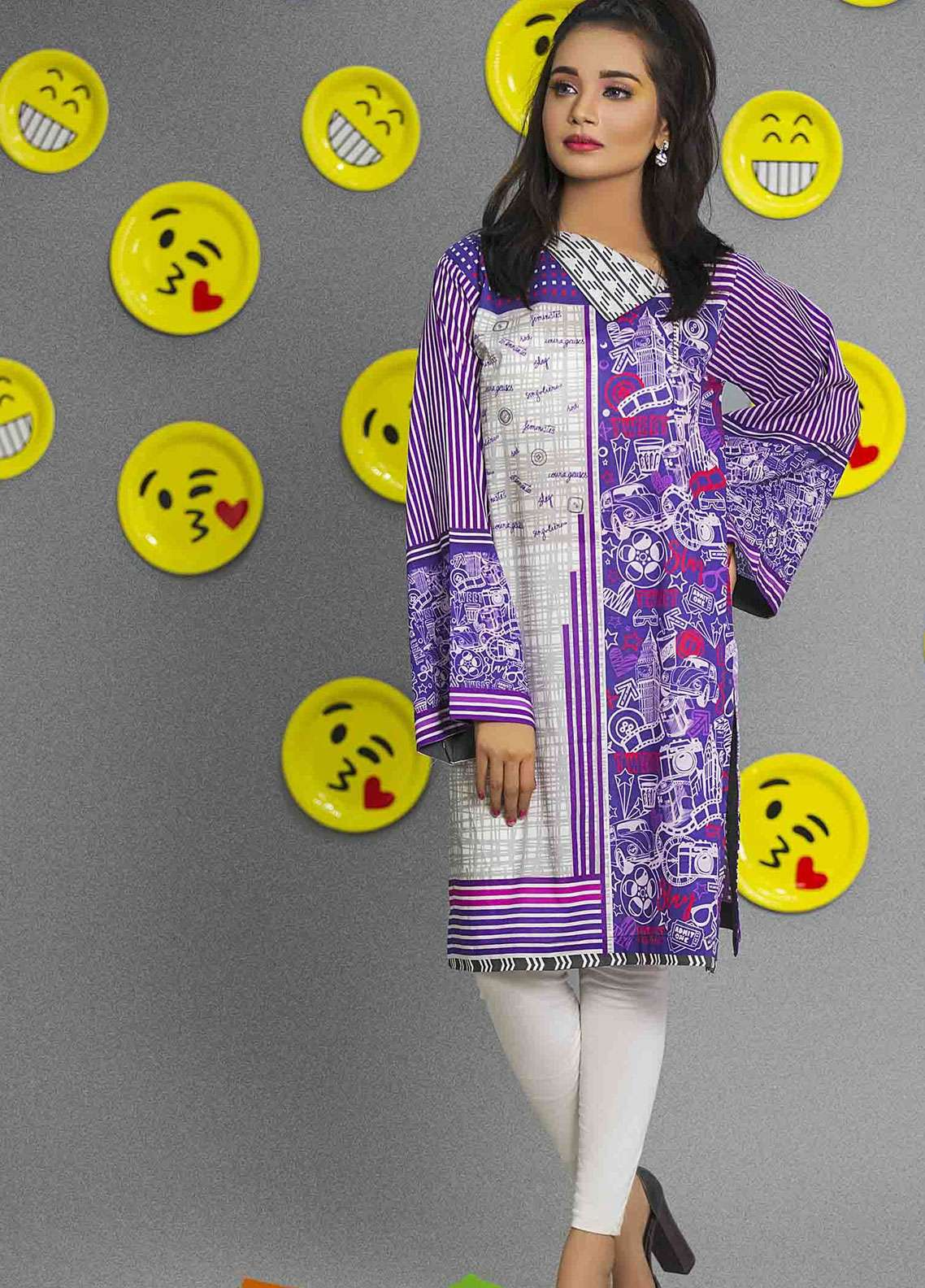 Fateh Printed Cambric Unstitched Kurties FS-0091 - Spunk Collection