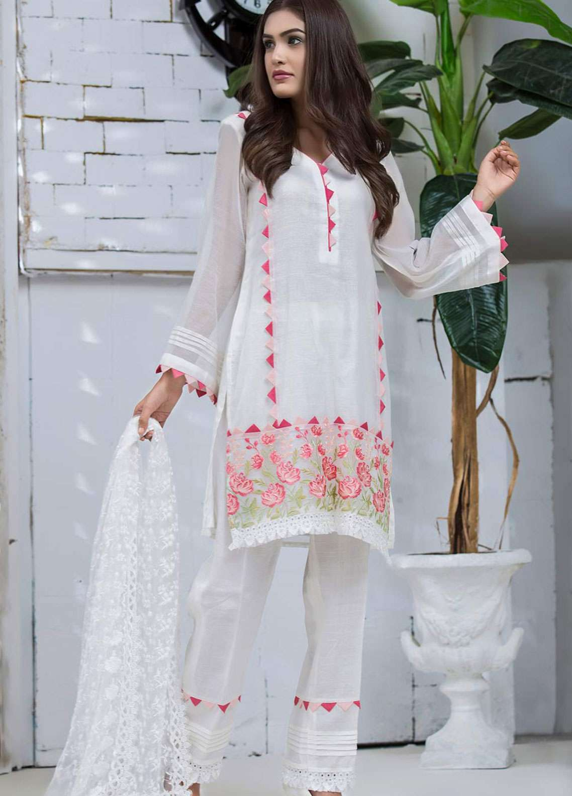 Chic Ophicial Embroidered  Stitched 3 Piece Suit FESTIVE WHITE