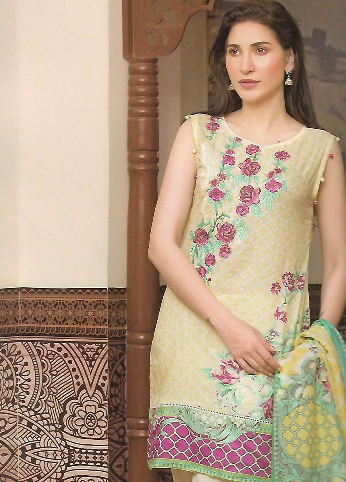 Firdous Fashion Embroidered Lawn Unstitched 3 Piece Suit FF18E 10B - Mid Summer Collection