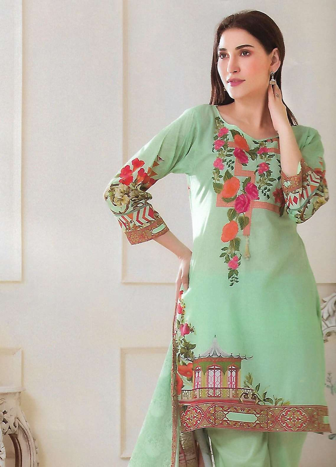 Firdous Fashion Embroidered Lawn Unstitched 3 Piece Suit FF18E 11B - Mid Summer Collection