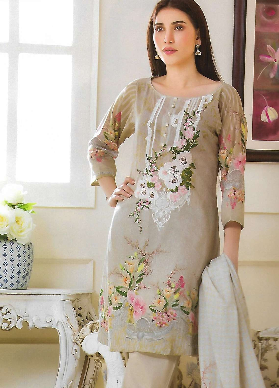 Firdous Fashion Embroidered Lawn Unstitched 3 Piece Suit FF18E 1B - Mid Summer Collection
