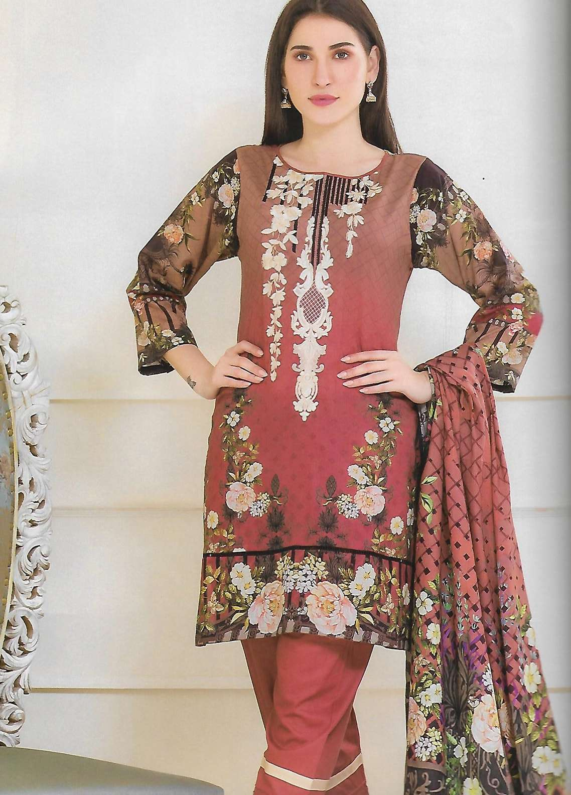 Firdous Fashion Embroidered Lawn Unstitched 3 Piece Suit FF18E 20A - Mid Summer Collection