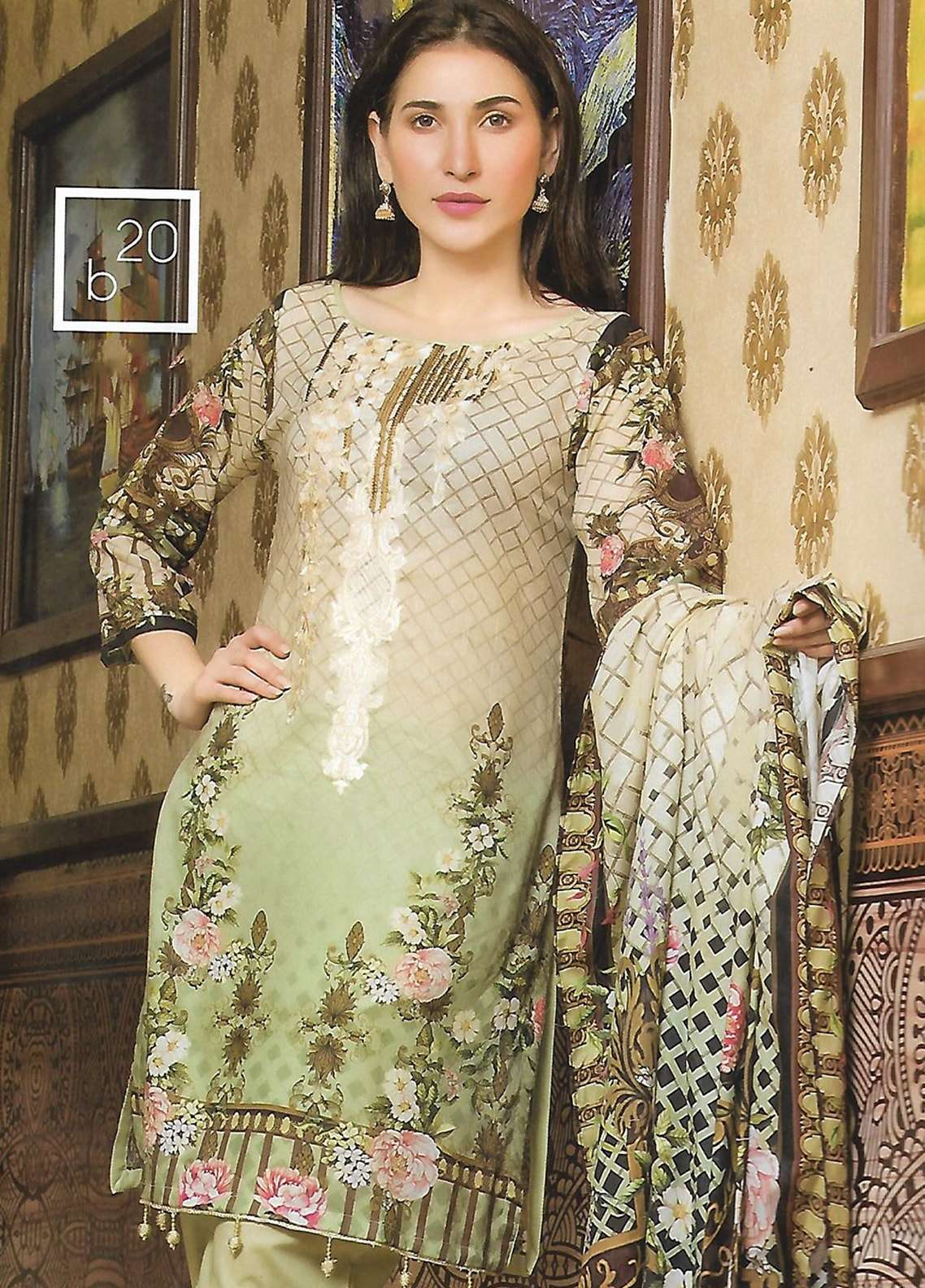 Firdous Fashion Embroidered Lawn Unstitched 3 Piece Suit FF18E 20B - Mid Summer Collection