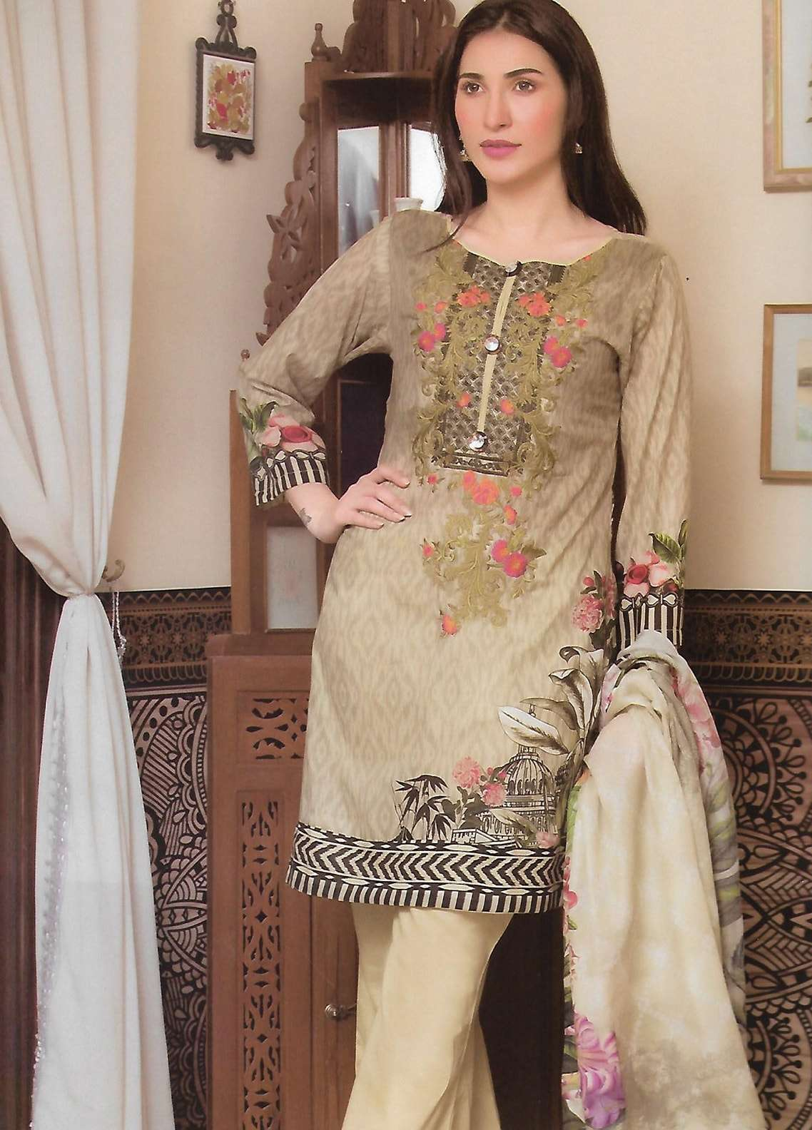 Firdous Fashion Embroidered Lawn Unstitched 3 Piece Suit FF18E 21A - Mid Summer Collection