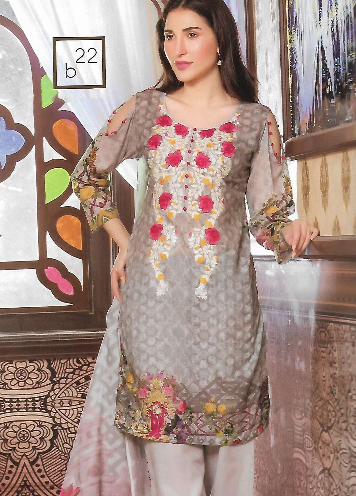 Firdous Fashion Embroidered Lawn Unstitched 3 Piece Suit FF18E 22B - Mid Summer Collection