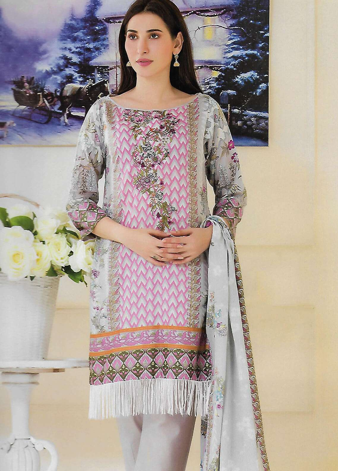 Firdous Fashion Embroidered Lawn Unstitched 3 Piece Suit FF18E 5A - Mid Summer Collection