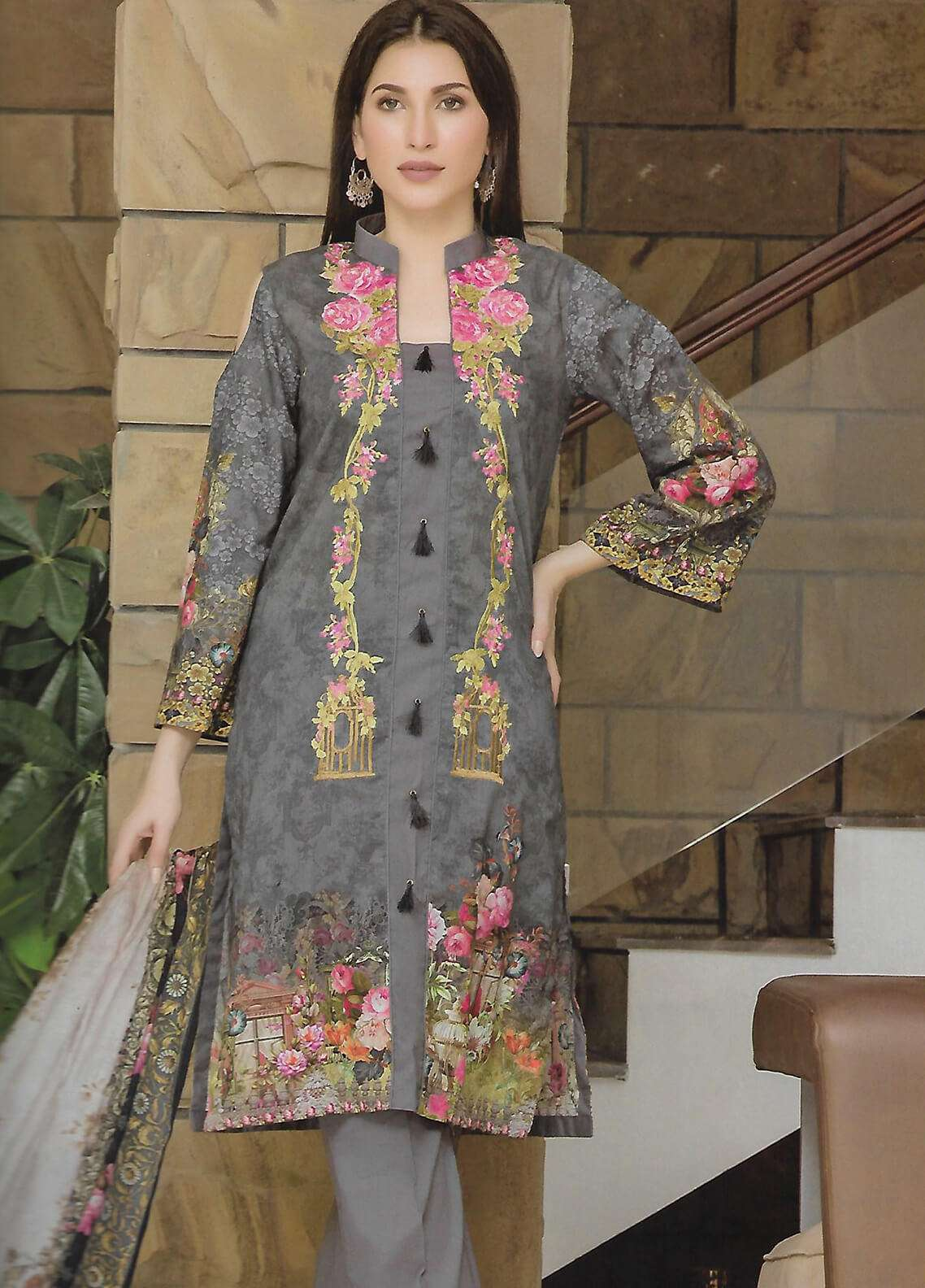 Firdous Fashion Embroidered Lawn Unstitched 3 Piece Suit FF18E 7A - Mid Summer Collection