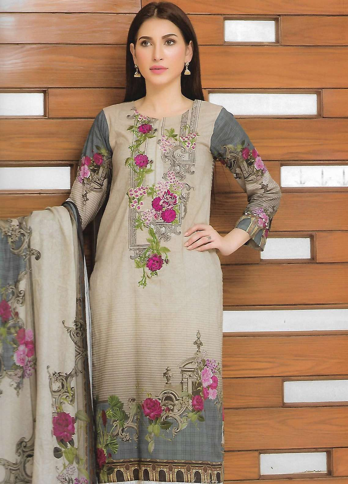 Firdous Fashion Embroidered Lawn Unstitched 3 Piece Suit FF18E 9A - Mid Summer Collection