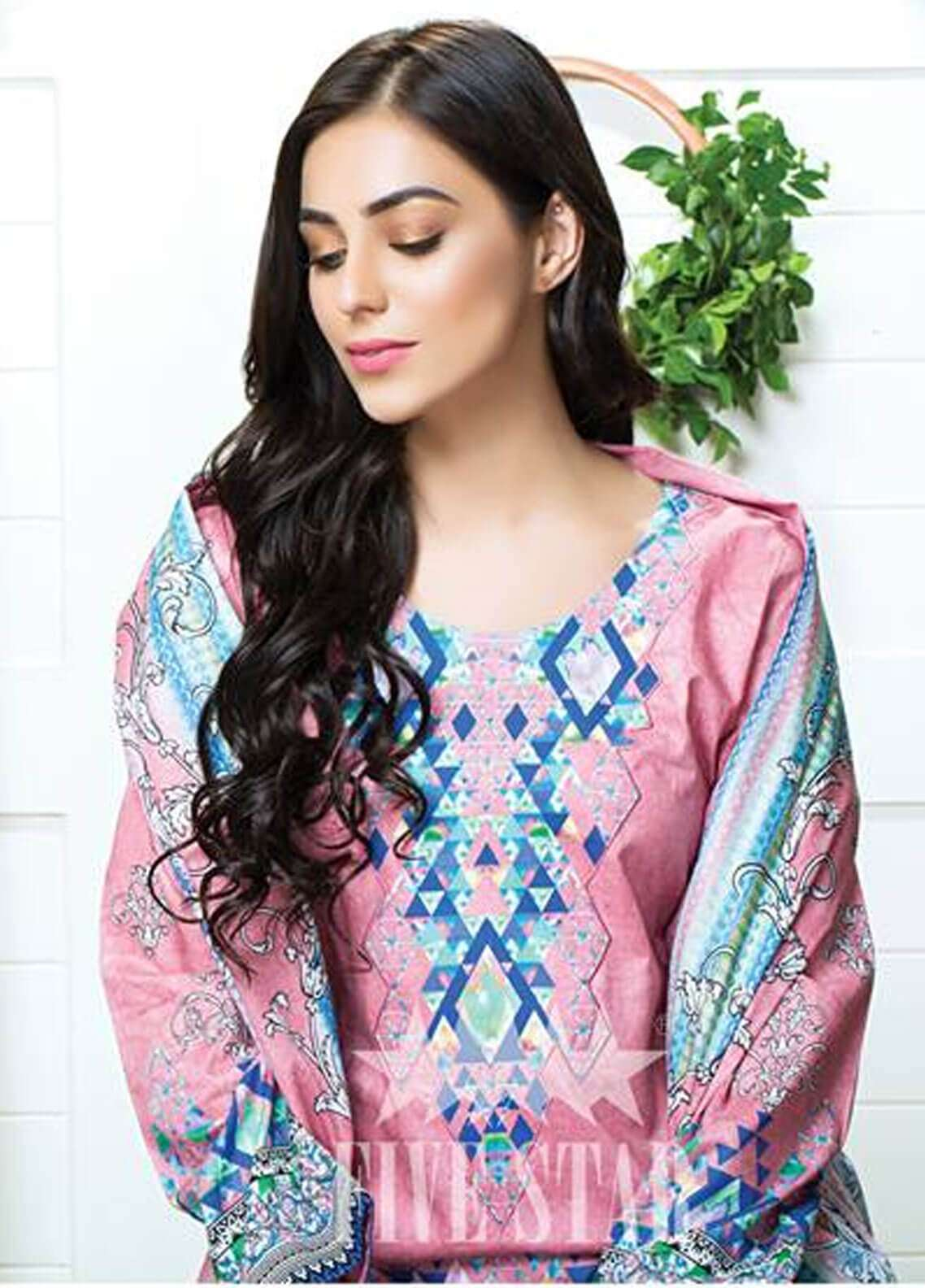 Five Star Printed Cambric Unstitched 3 Piece Suit FS18C 501B - Classic Collection