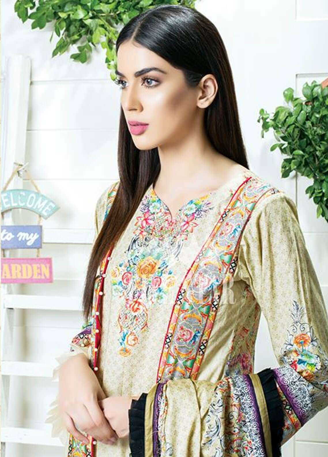 Five Star Printed Cambric Unstitched 3 Piece Suit FS18C 502A - Classic Collection