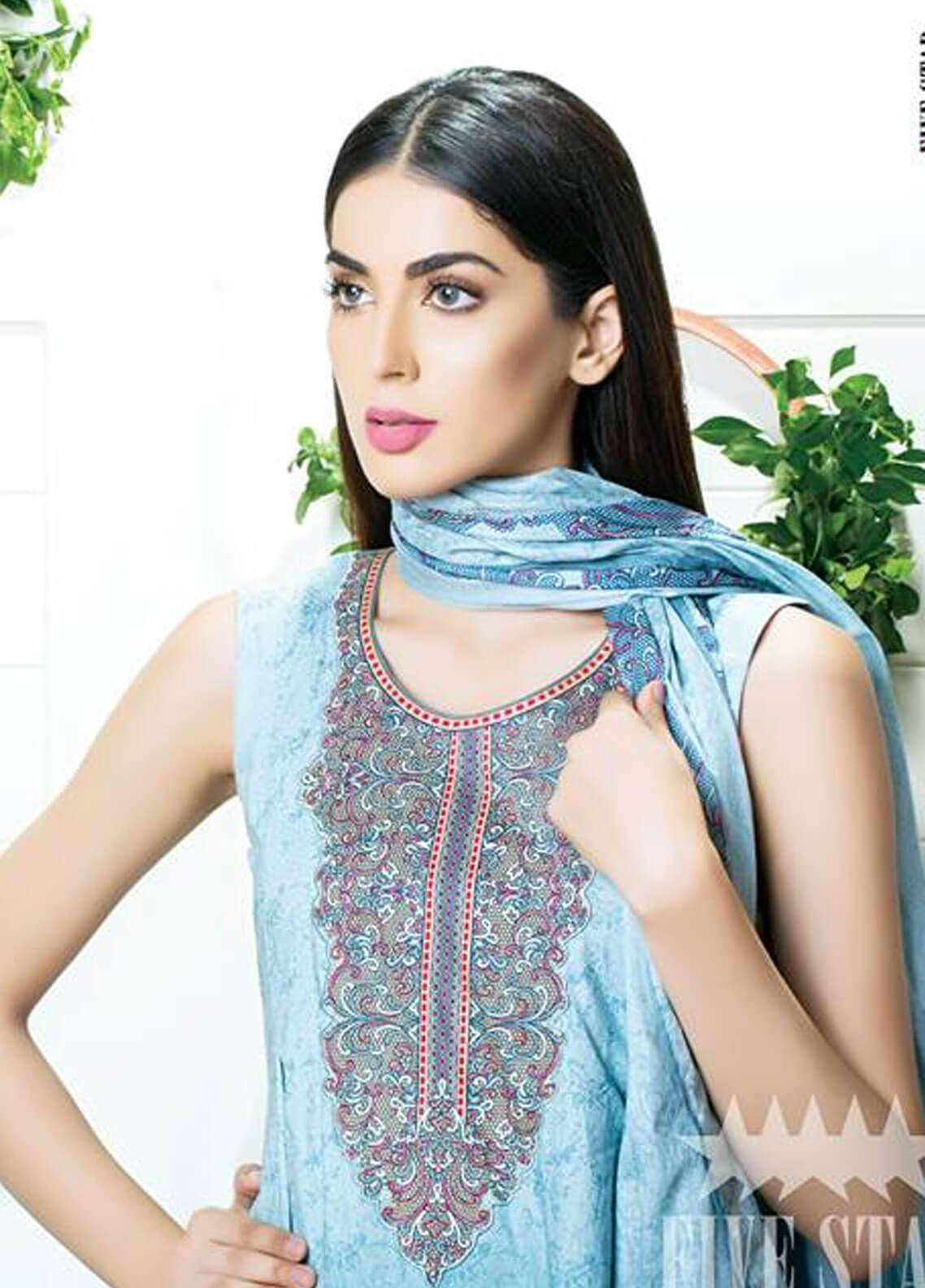 Five Star Printed Cambric Unstitched 3 Piece Suit FS18C 504B - Classic Collection