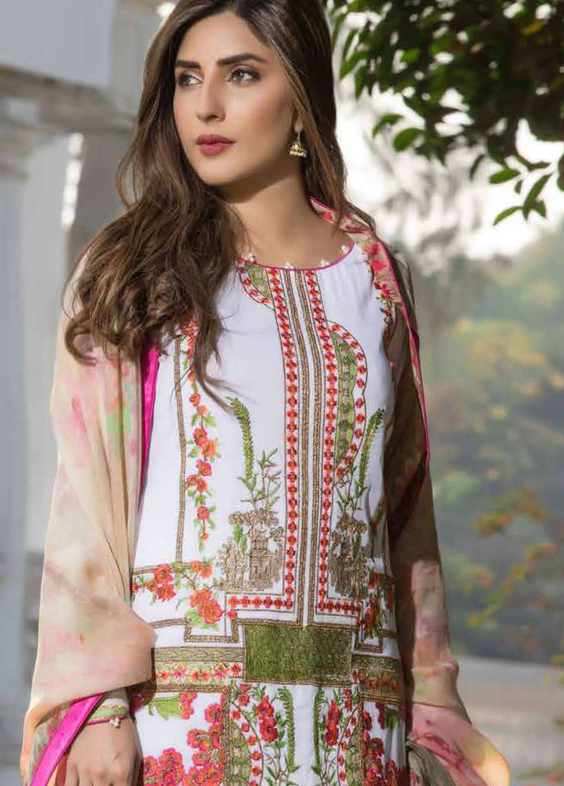 Floral Vintage Embroidered Swiss Voile Unstitched 3 Piece Suit FL18S 05 - Summer Collection