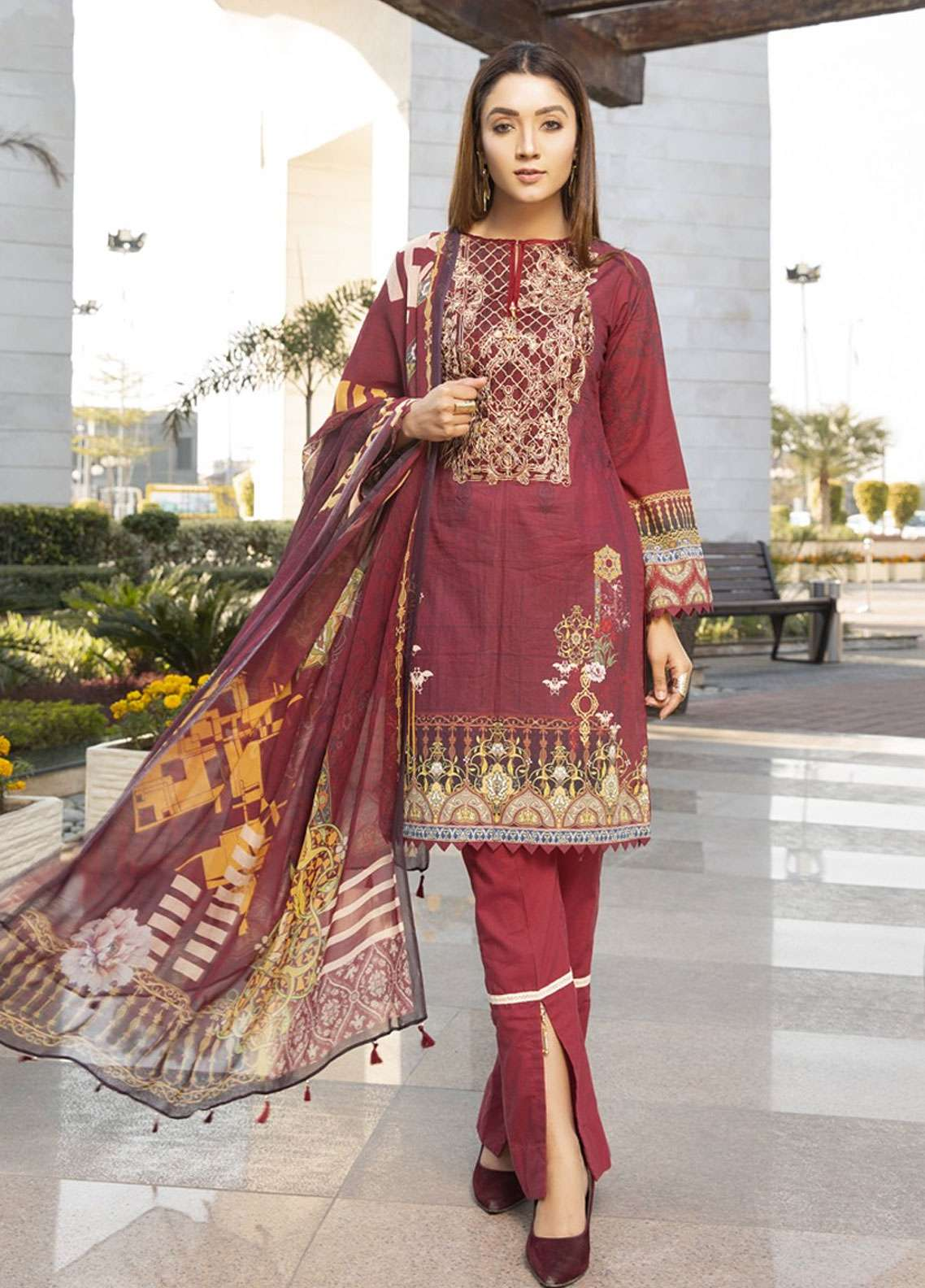 Florence by Mohagni Embroidered Lawn Unstitched 3 Piece Suit FMO19L 09 - Spring / Summer Collection