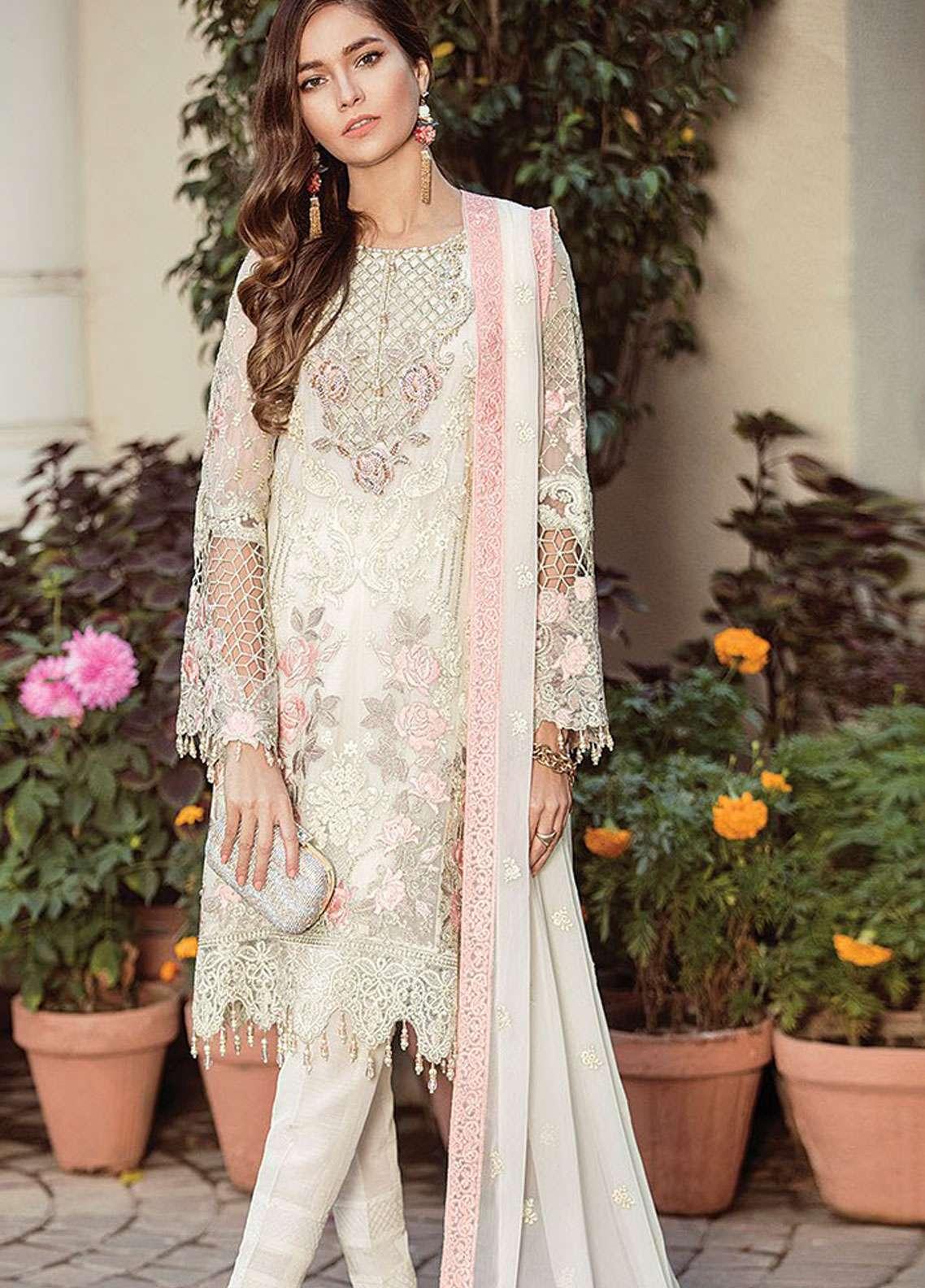 Flossie Embroidered Chiffon Unstitched 3 Piece Suit FKK19C 06 True Love - Luxury Edition