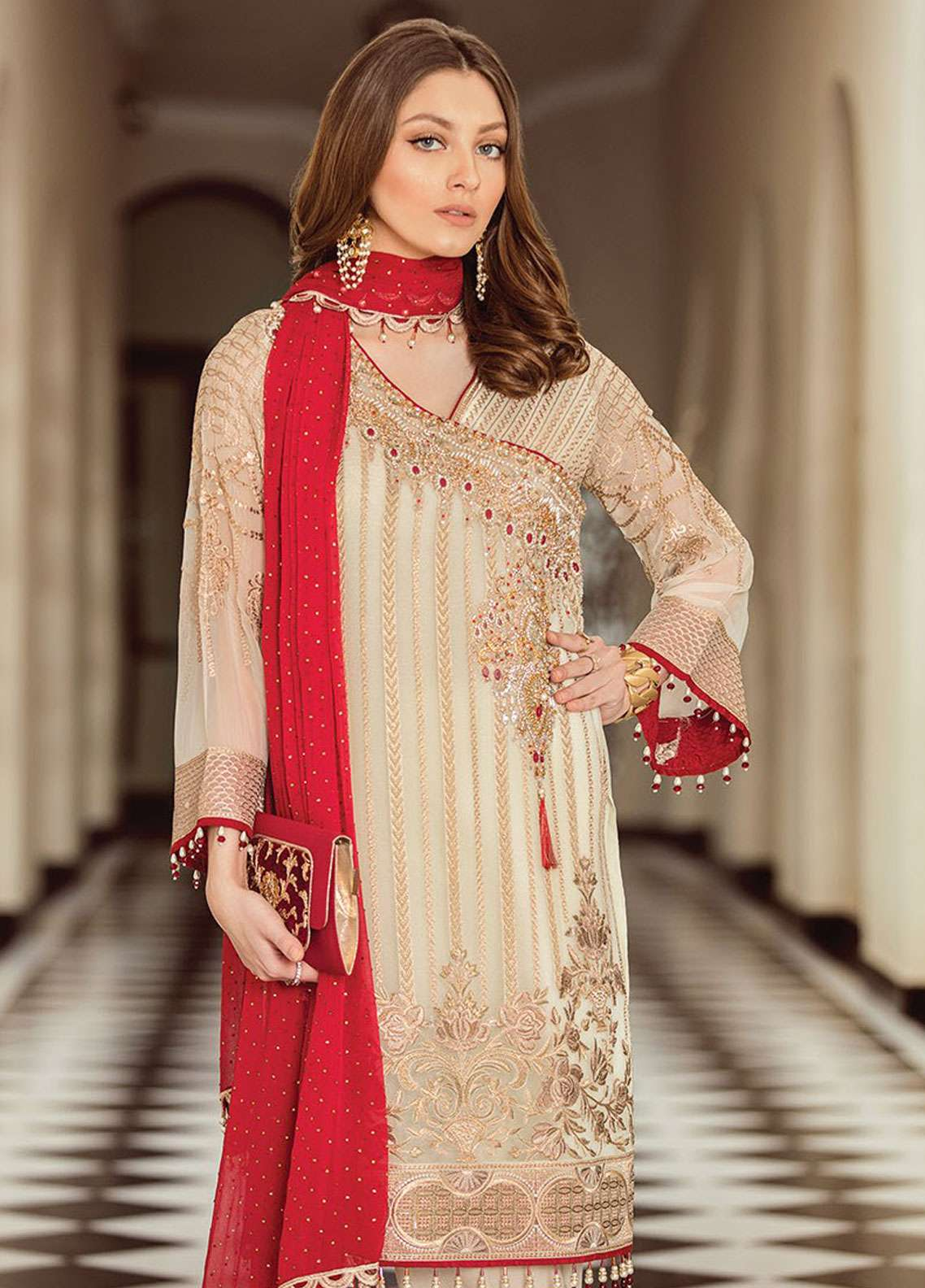 Flossie Embroidered Chiffon Unstitched 3 Piece Suit FKK19C 08 White Opulence - Luxury Edition