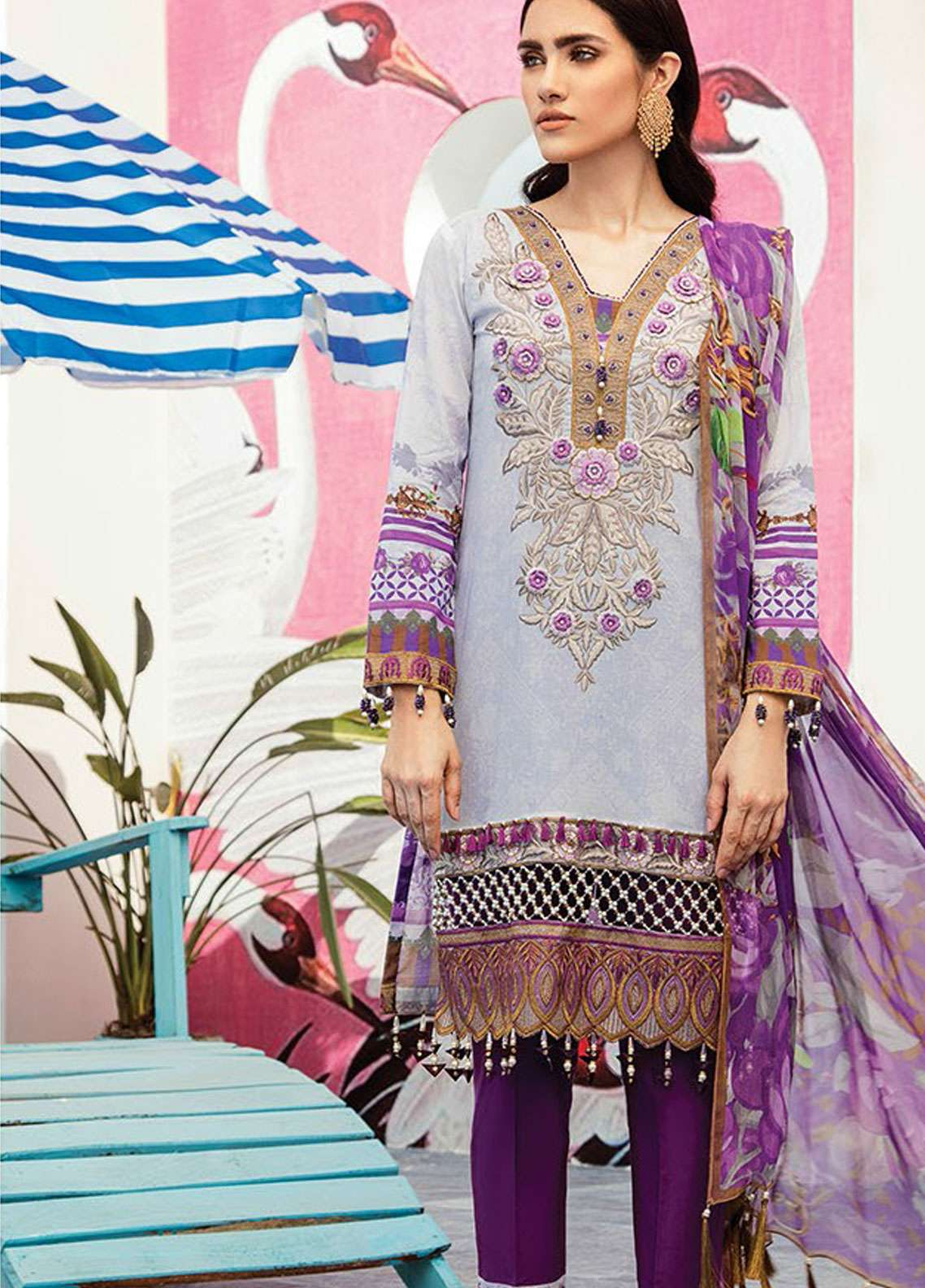 Flossie Embroidered Lawn Unstitched 3 Piece Suit FL19L 03 LILAC DREAM - Spring / Summer Collection