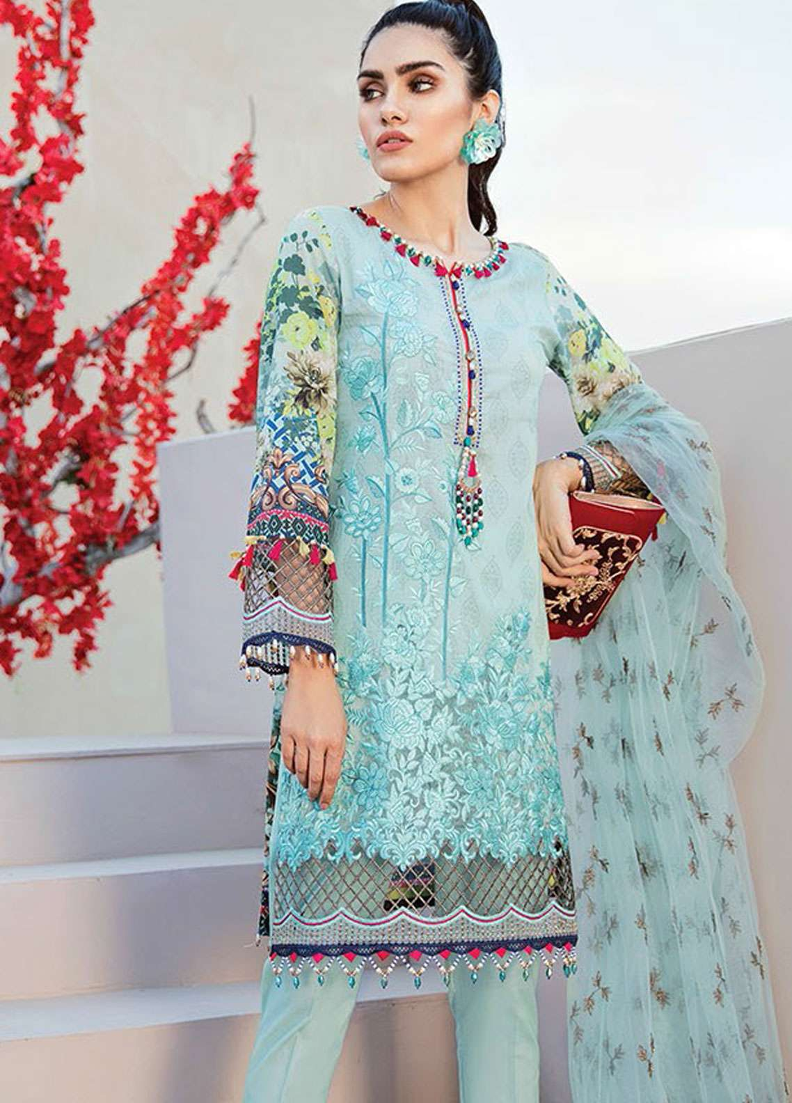Flossie Embroidered Lawn Unstitched 3 Piece Suit FL19L 04 AQUA VALLEY - Spring / Summer Collection