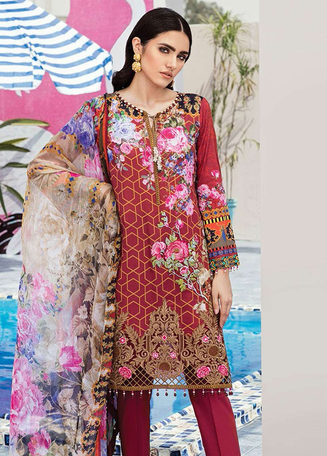 Flossie Embroidered Lawn Unstitched 3 Piece Suit FL19L 05 SOUL SPECTRUM - Spring / Summer Collection