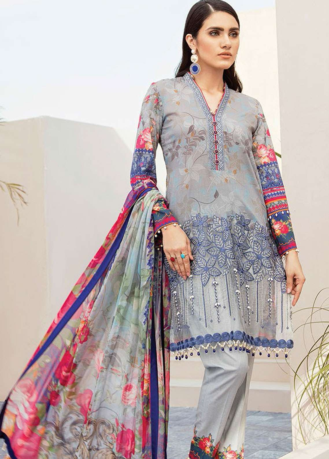 Flossie Embroidered Lawn Unstitched 3 Piece Suit FL19L 06 ORCHID - Spring / Summer Collection