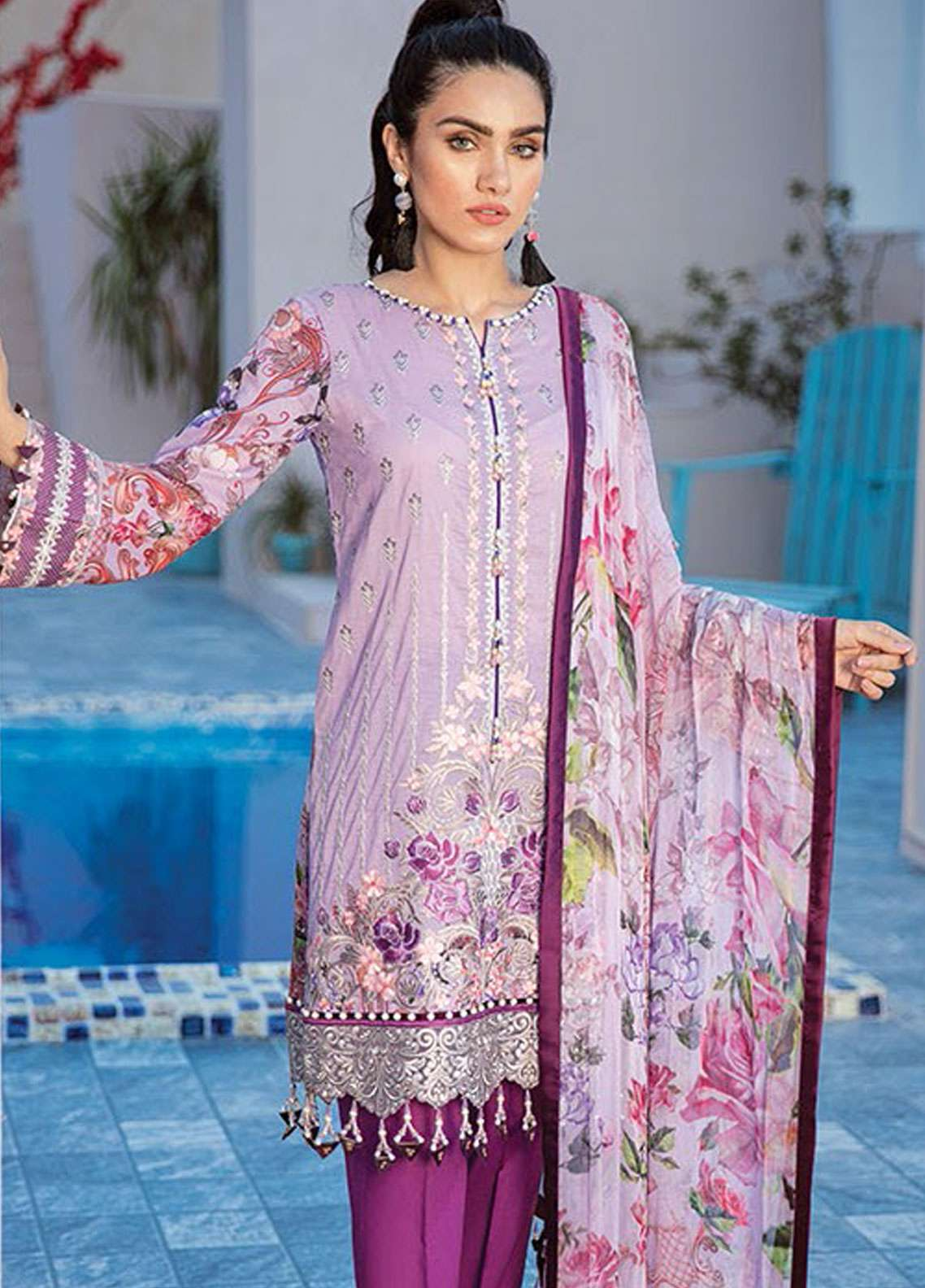 Flossie Embroidered Lawn Unstitched 3 Piece Suit FL19L 08 MAY PURPLE - Spring / Summer Collection