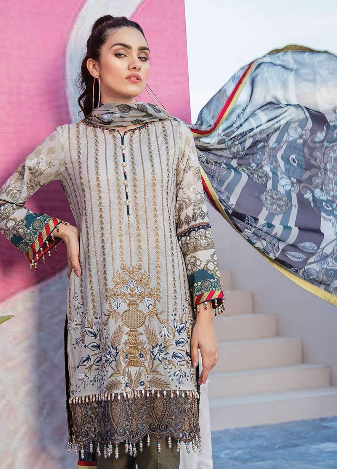 Flossie Embroidered Lawn Unstitched 3 Piece Suit FL19L 09 CLASSY MASSY - Spring / Summer Collection