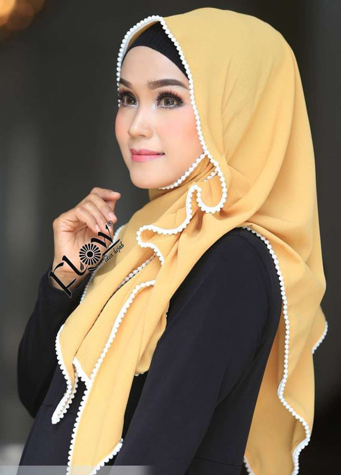 Flow Idea Hijab  Bubble Pop  Ladies Scarves HH Flow Ambara 01 Yellow