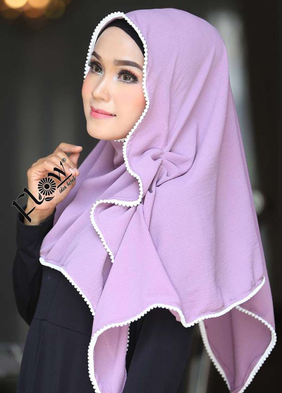 Flow Idea Hijab  Bubble Pop  Ladies Scarves HH Flow Ambara 02 Purple