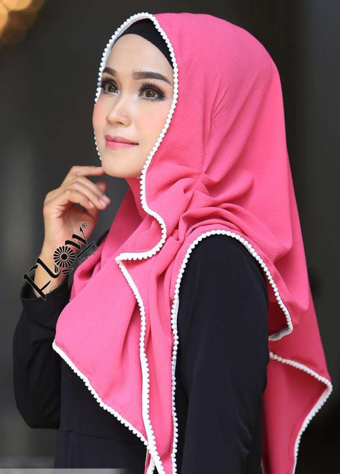 Flow Idea Hijab  Bubble Pop  Ladies Scarves HH Flow Ambara 04 Pink Fresh