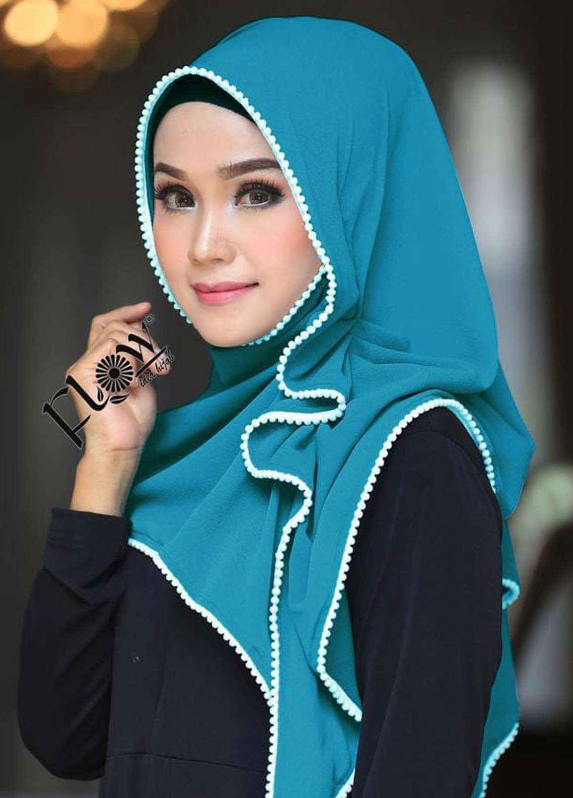 Flow Idea Hijab  Bubble Pop  Ladies Scarves HH Flow Ambara 07 Sea Green