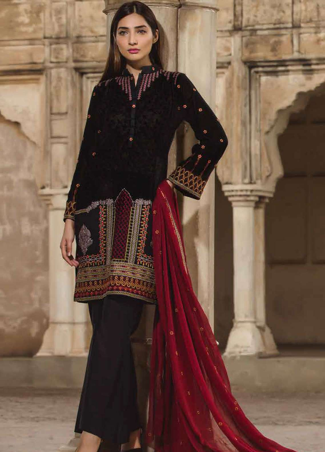 Floral Vintage Embroidered Swiss Voile Unstitched 3 Piece Suit FLV18S 04 - Festive Collection