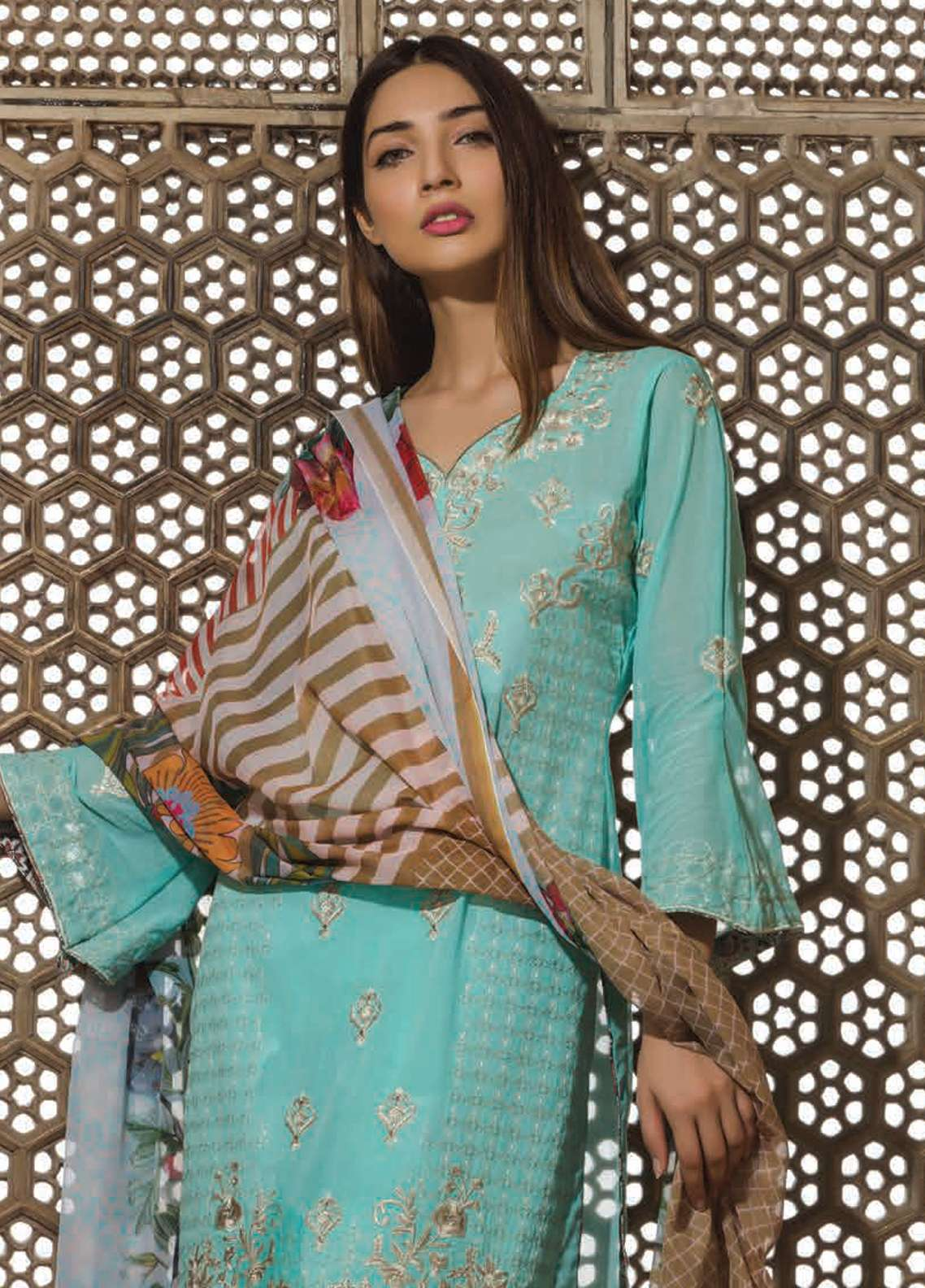 Floral Vintage Embroidered Swiss Voile Unstitched 3 Piece Suit FLV18S 11 - Festive Collection