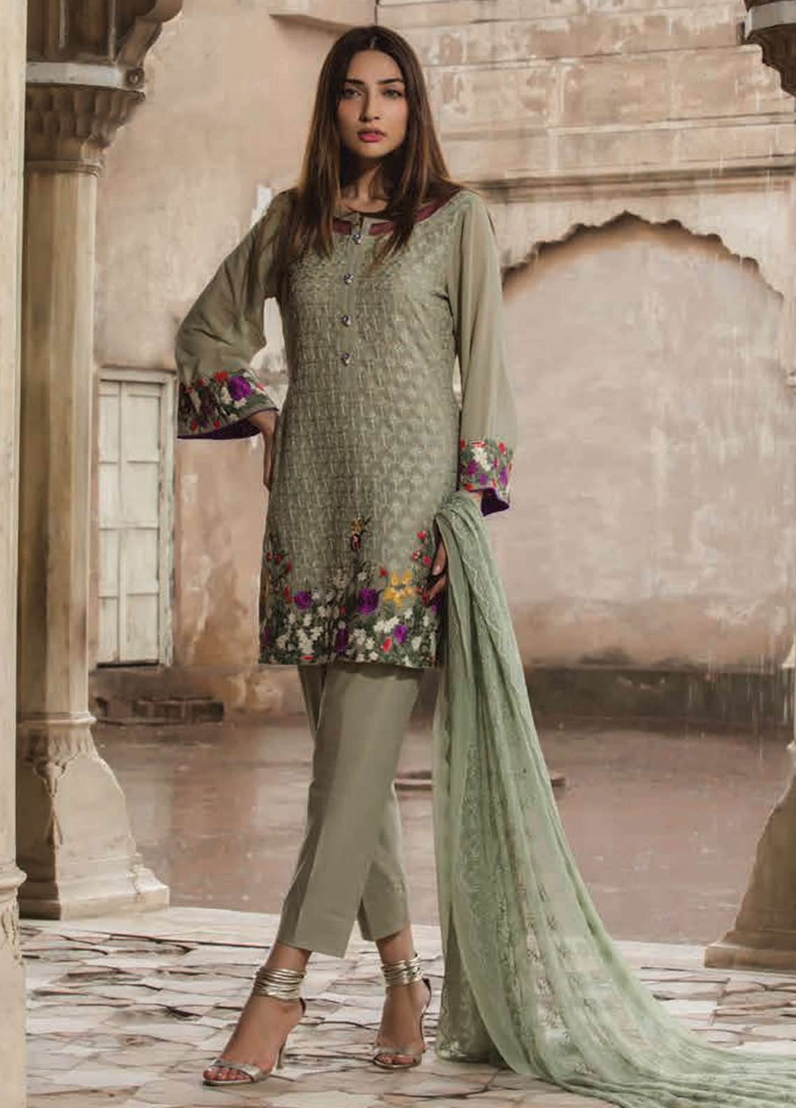 Floral Vintage Embroidered Swiss Voile Unstitched 3 Piece Suit FLV18S 2B - Festive Collection