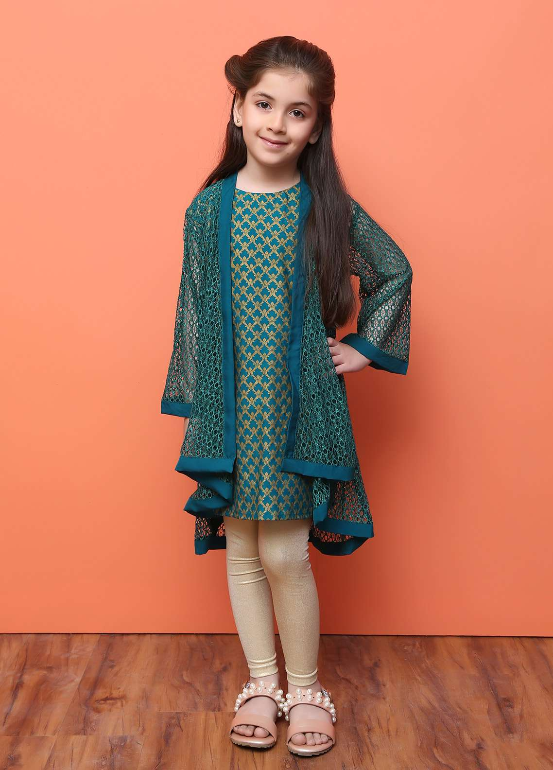 Ochre Chiffon Formal Kurtis for Girls - OFK 620 Green