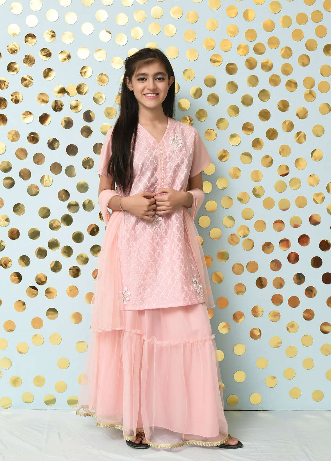 Ochre Chiffon Formal Girls 3 Piece Suit - OFW 161 Pink