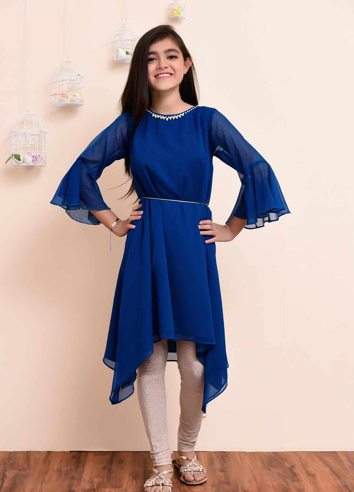Ochre Chiffon Formal Girls Kurtis - OFW 163 Teal Blue
