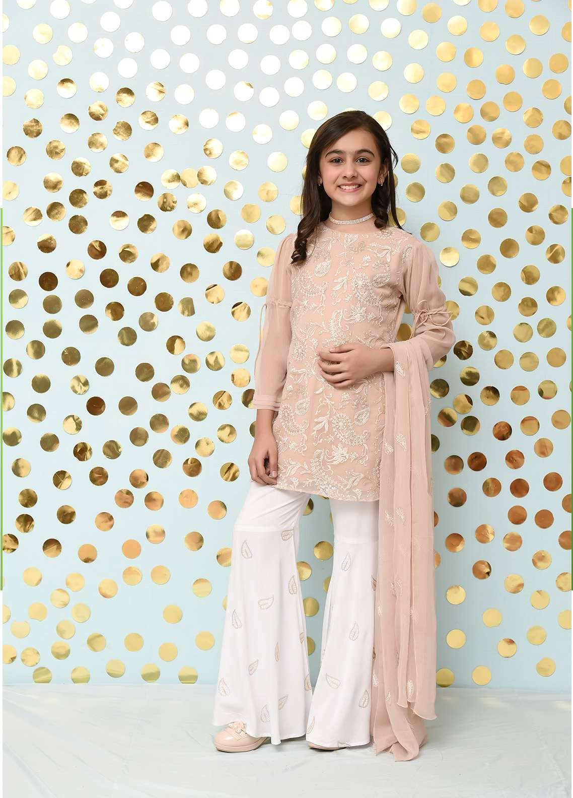 Ochre Chiffon Formal 3 Piece Suit for Girls - OFW 164 Tea Pink