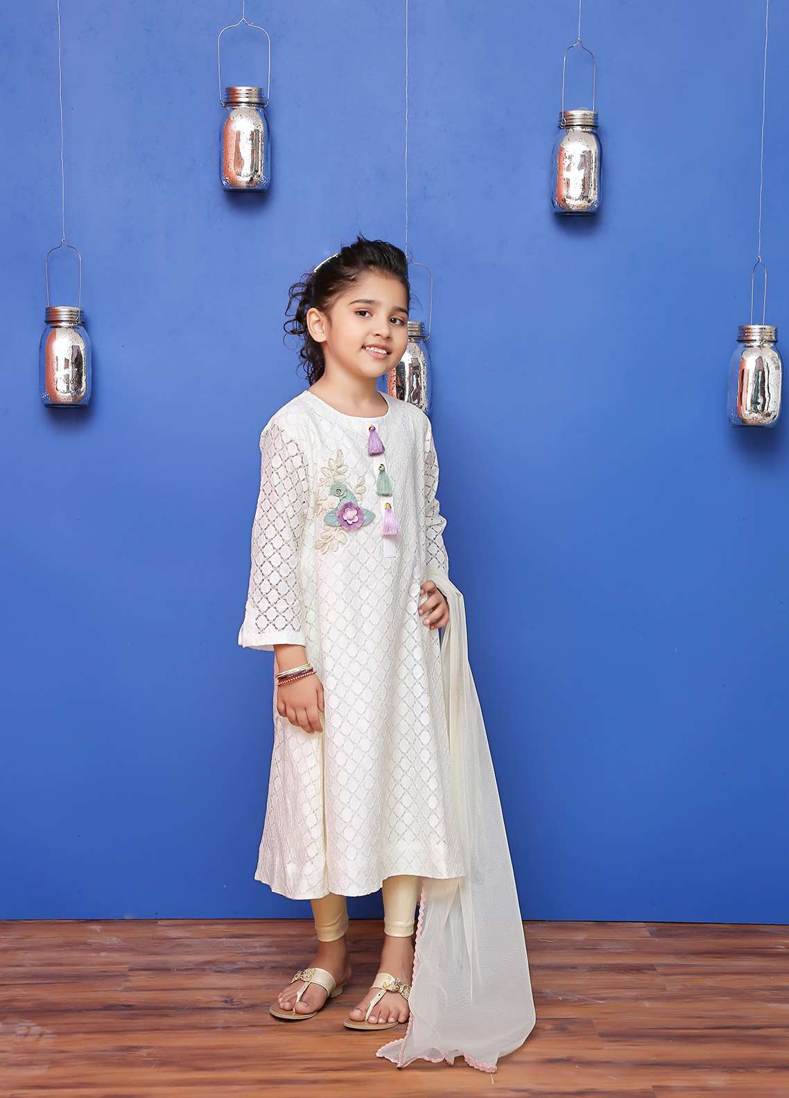 Ochre Cotton Net Formal Girls 2 Piece Suit - OFW 168 Off White