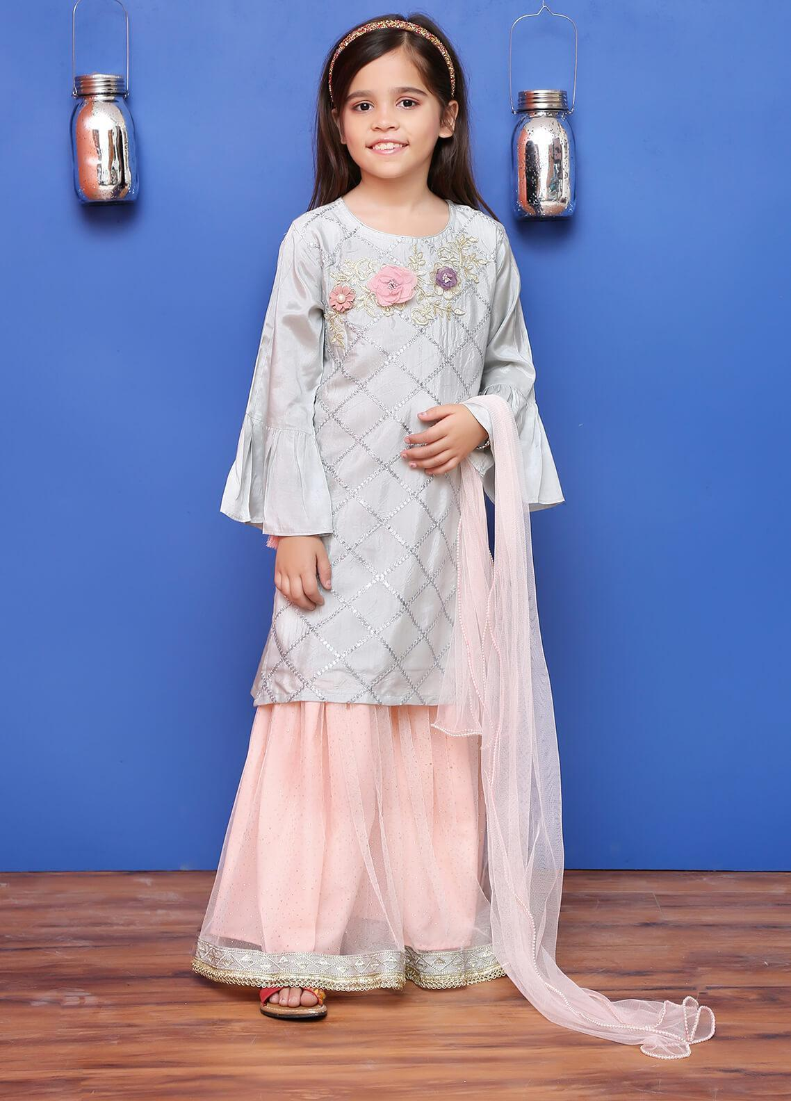 Ochre Chiffon Formal 3 Piece Suit for Girls - OFW 169 Steel Grey