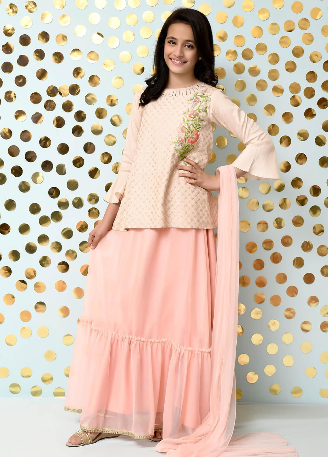 Ochre Cotton Silk Formal Girls 3 Piece Suit - OFW 170 Beige