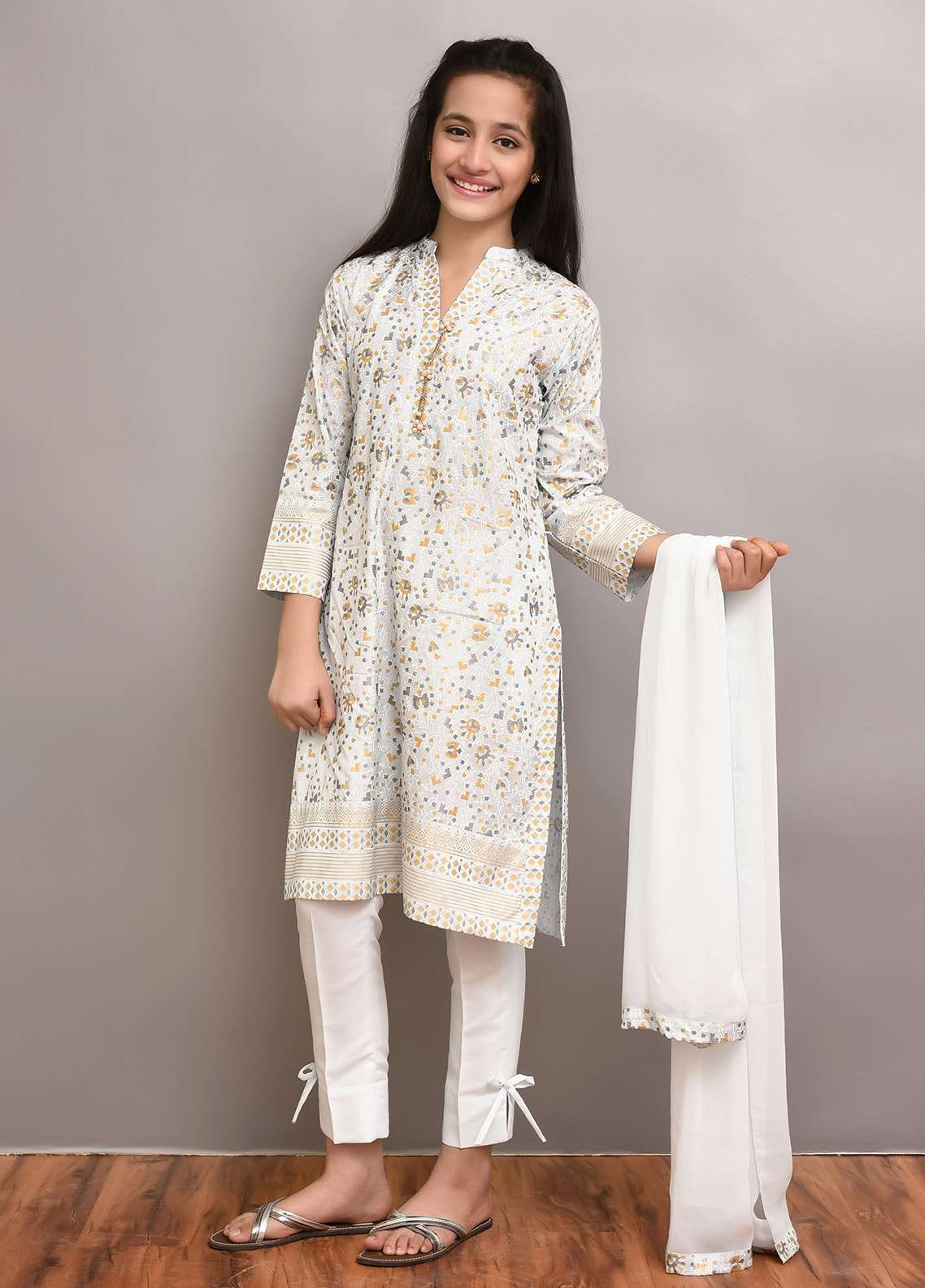 Ochre Cotton Silk Formal Girls 3 Piece Suit - OFW 179 Sky Blue