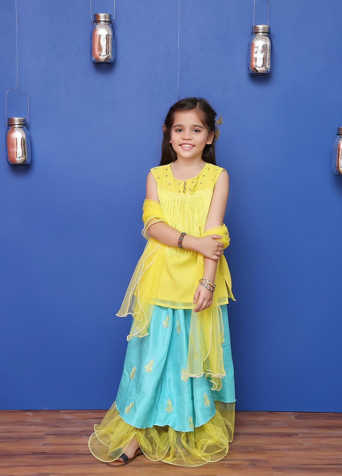 Ochre Chiffon Formal Girls 3 Piece Suit - OFW 185 Yellow