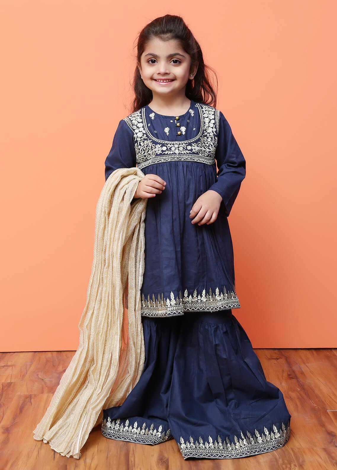 Ochre Cotton Formal 3 Piece Suit for Girls - OFW 189 Navy