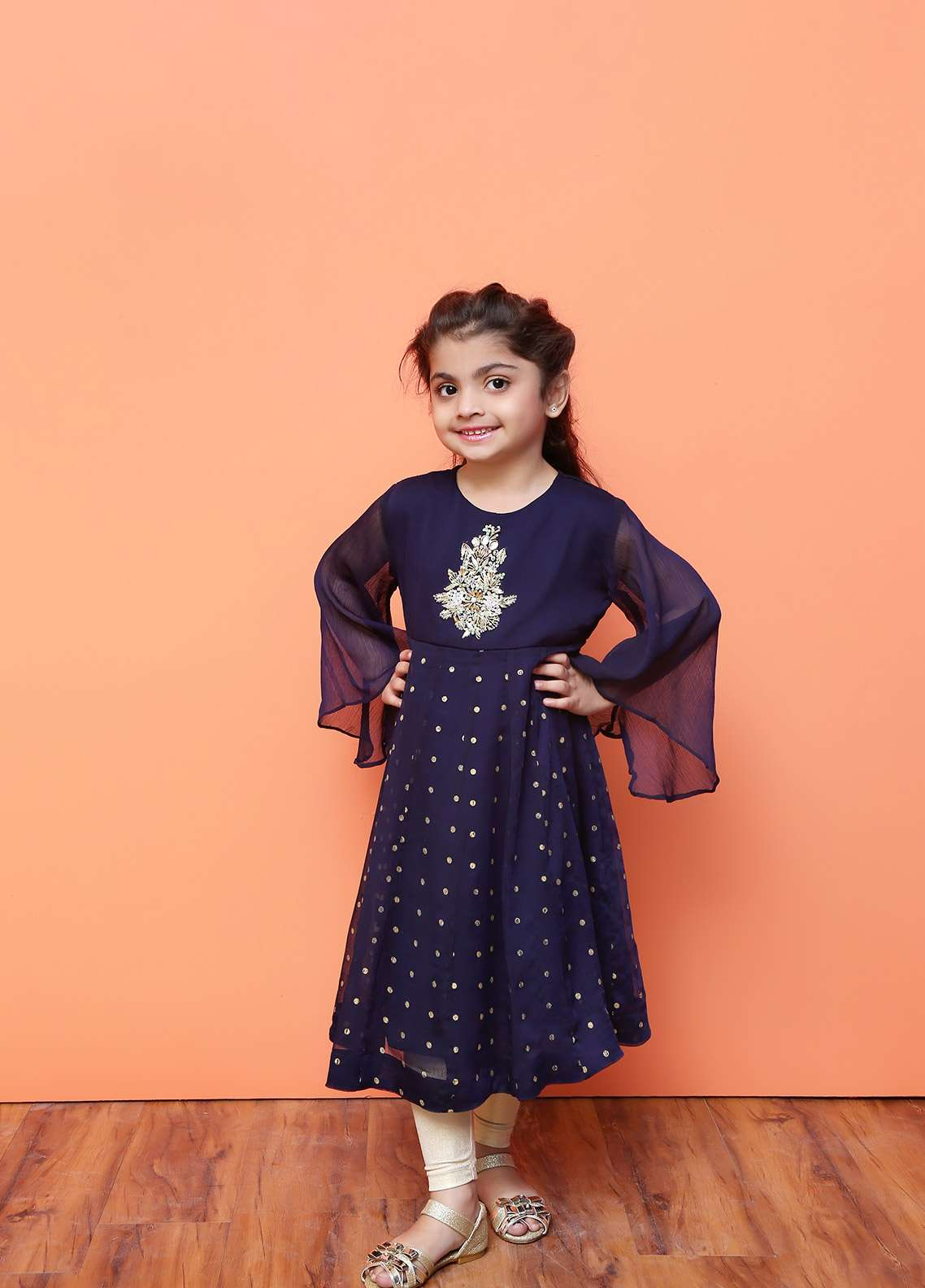 Ochre Chiffon Formal Kurtis for Girls - OFW 190 Navy