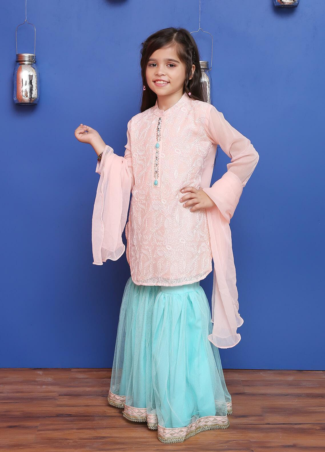 Ochre Chiffon Formal Girls 3 Piece Suit - OFW 191 Light Pink