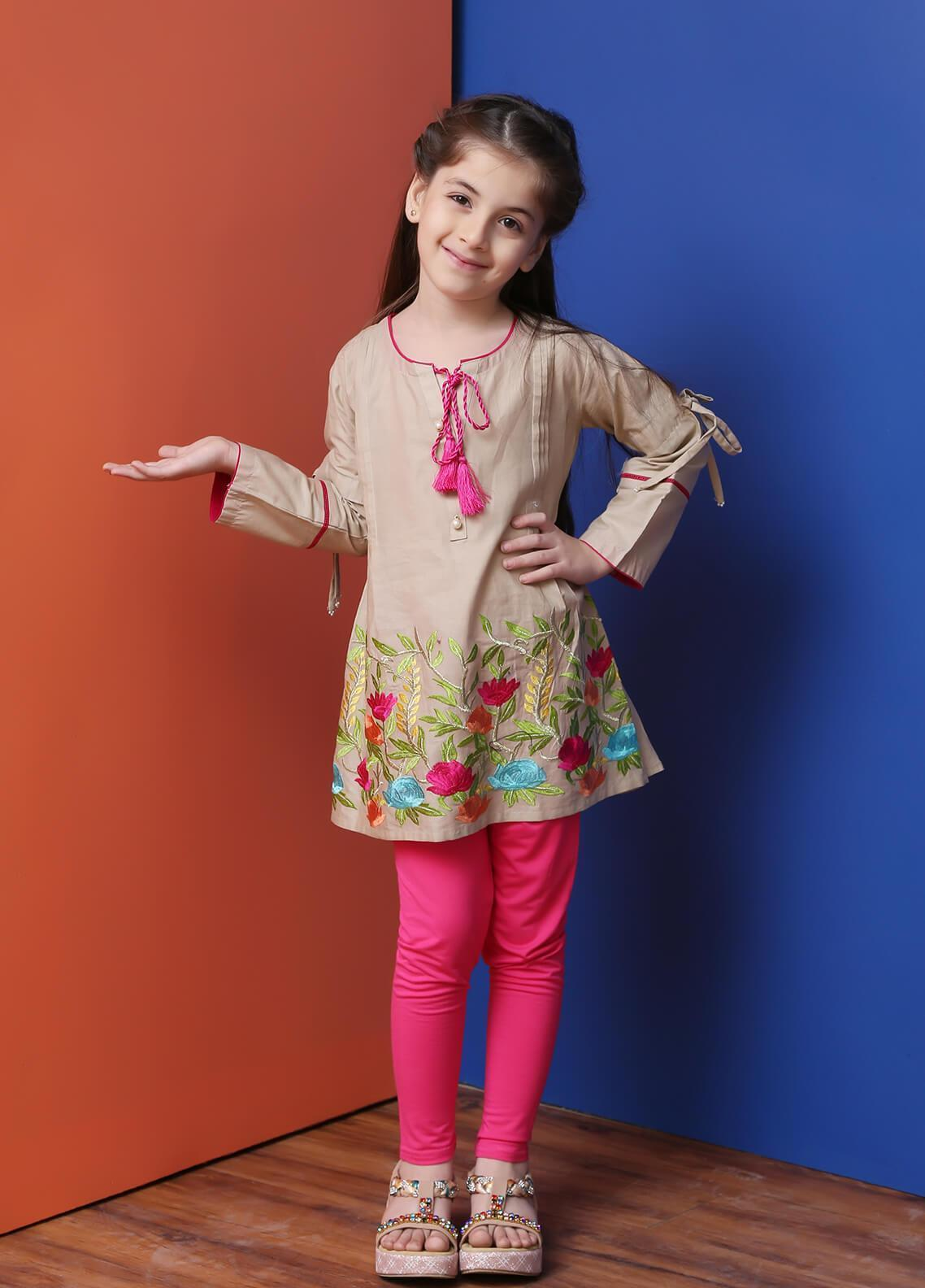 Ochre Cotton Formal Kurtis for Girls - OWT 264 Beige