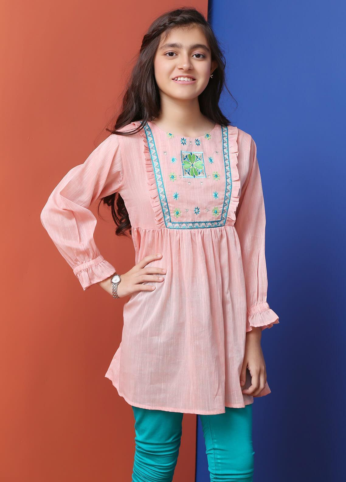 Ochre Cotton Formal Girls Kurtis - OWT 266 Peach