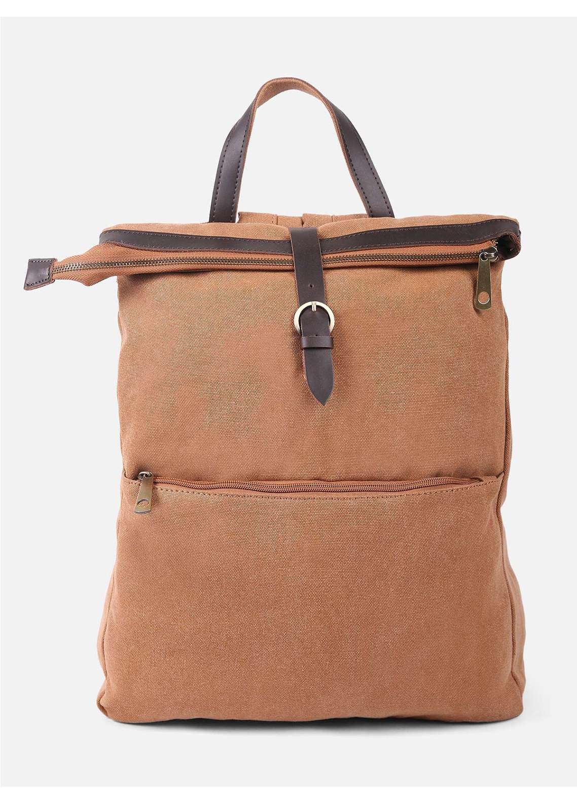 Furor Mix Backpack Bags for Unisex - Brown with Plain Texture