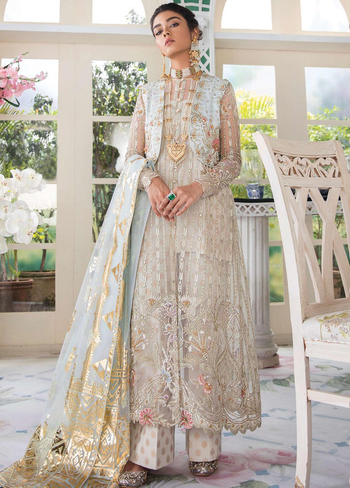 Freesia Suffuse by Sana Yasir Embroidered Zari Net Unstitched 3 Piece Suit FRS19E NORAH - Eid Collection