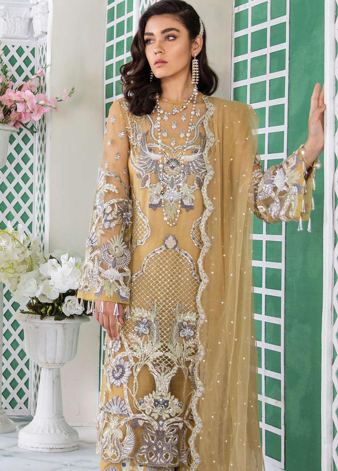 Freesia Suffuse by Sana Yasir Embroidered Zari Net Unstitched 3 Piece Suit FRS19E SOLEIL - Eid Collection